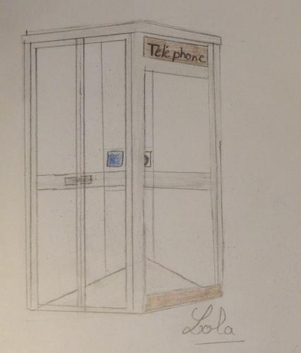 cabine téléphonique, lola , dessin