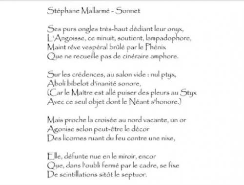stéphane mallarmé, sonnet en X